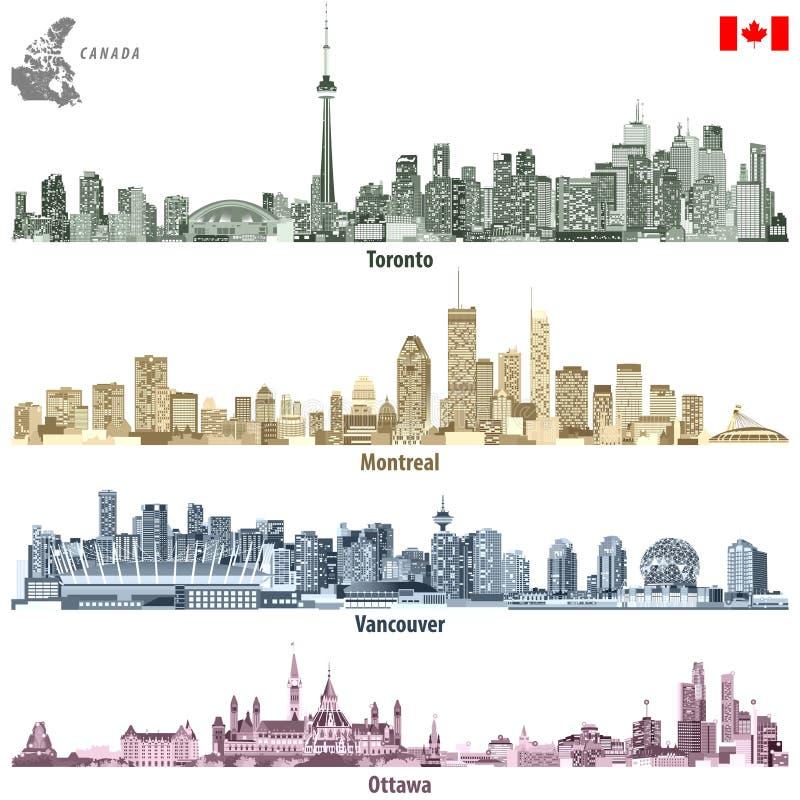Vectorillustraties van Canadese steden Toronto, de horizonnen van Montreal, van Vancouver en van Ottawa in verschillende kleurenp vector illustratie