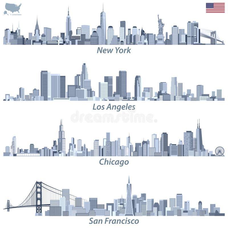 vectorillustraties van de stadshorizonnen van Verenigde Staten in tinten van blauw kleurenpalet met kaart en vlag van Verenigde S vector illustratie
