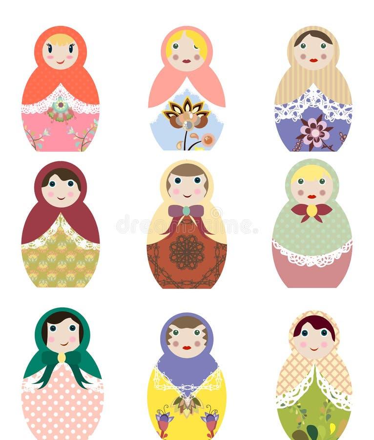 Vectorillustraties van Russische poppenreeks van het art. van de matryoshkaklem vector illustratie