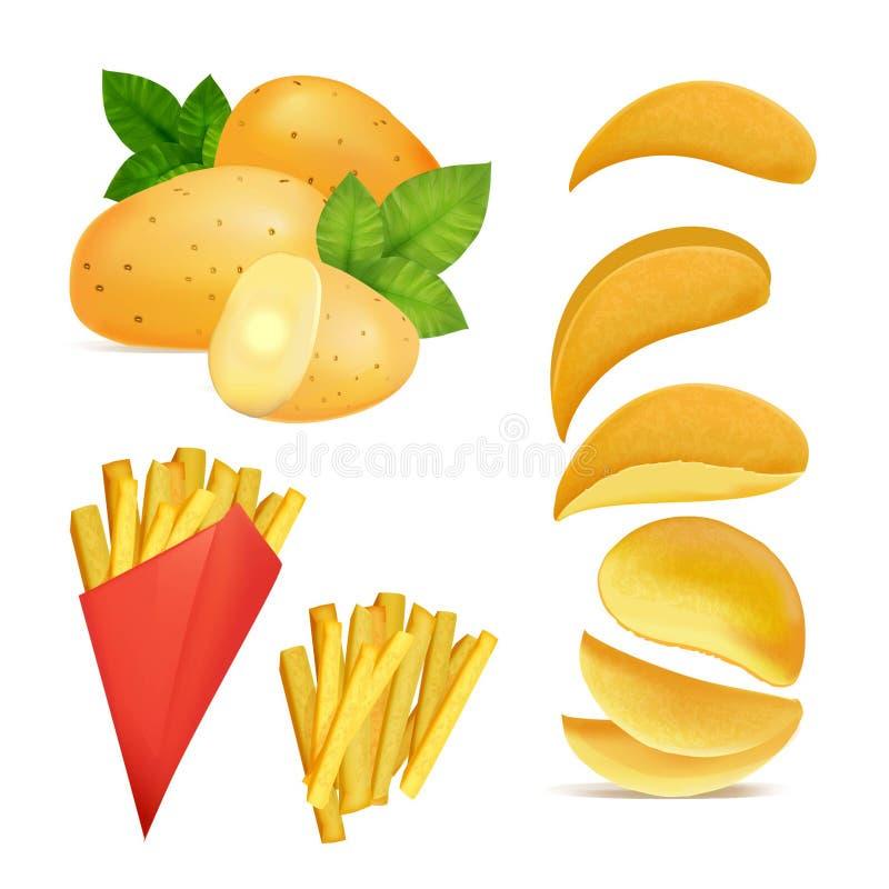 Vectorillustraties van snacks of spaanders Beelden in beeldverhaalstijl van gebraden aardappel stock illustratie