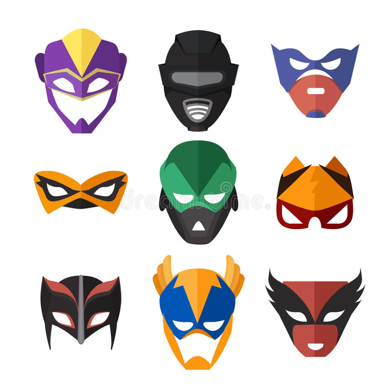Vectorillustraties van superheroesmaskers vector illustratie