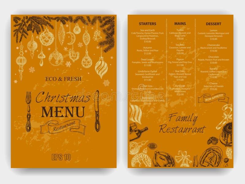 Vectorillustratieschets - Groetkaarten en vakantieontwerp Uitstekend Kerstmismenu royalty-vrije illustratie