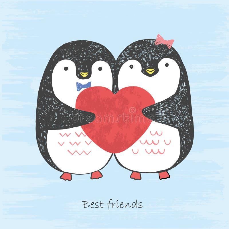 Vectorillustratieschets het houden van pinguïnen met gekrast hart in hun handen die op een blauwe grungeachtergrond worden geïsol vector illustratie