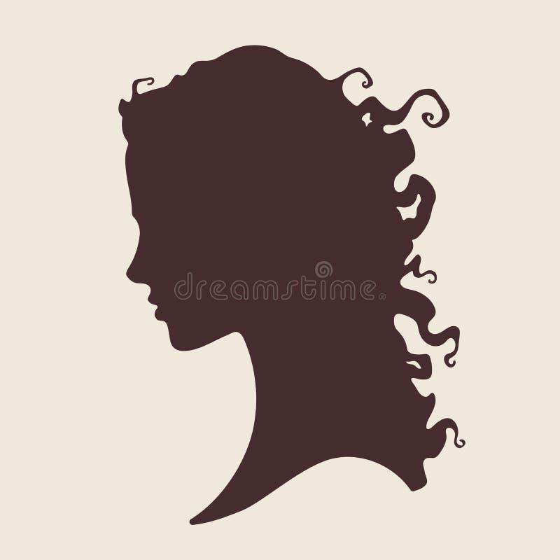 Vectorillustratiesilhouet van mooi krullend meisje in geïsoleerd profiel Van het schoonheidssalon of haar productontwerp royalty-vrije illustratie