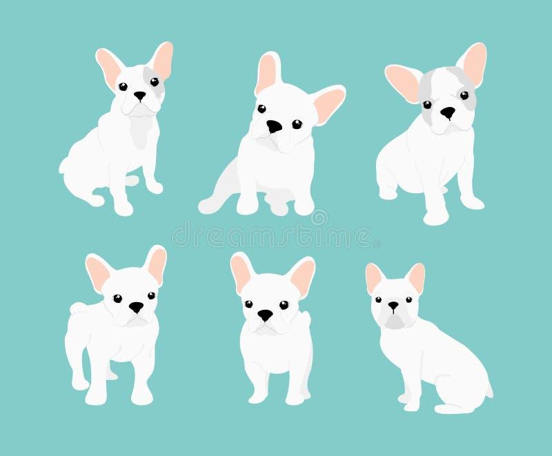 Vectorillustratiesreeks van leuk weinig witte Franse buldog Gelukkige en grappige beelden van buldogpuppy in verschillend vector illustratie
