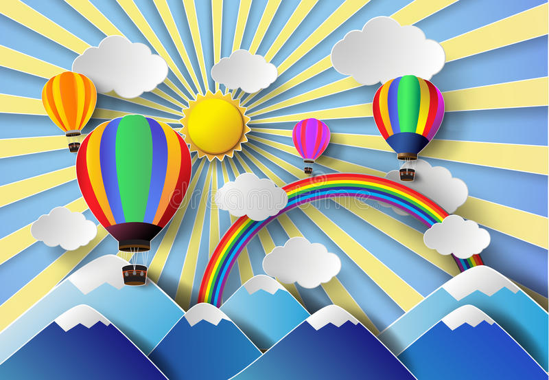 Vectorillustratiezonlicht op wolk met hete luchtballon royalty-vrije illustratie