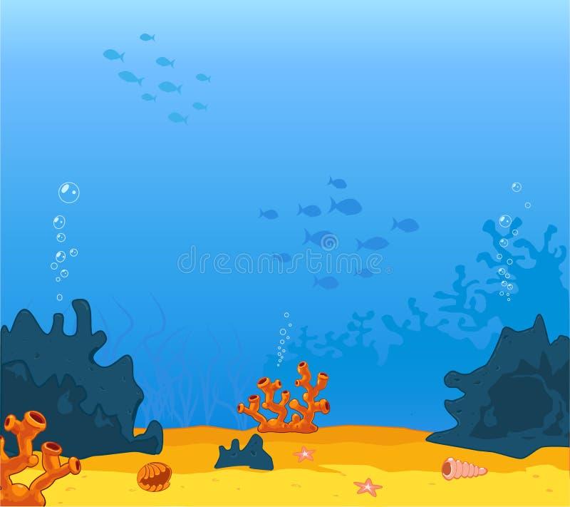 Vectorillustrator van achtergrond onderwater op het overzees vector illustratie