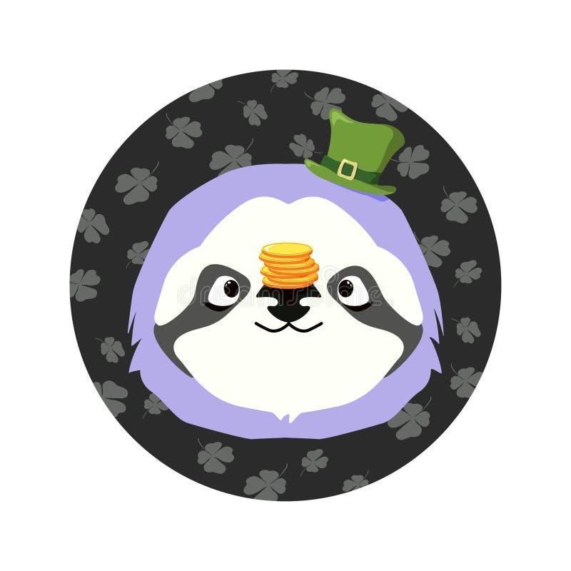 Vectorillutration van het hoofd van de luiaard met de groene hoed bij de bovenkant en en een stapel muntstukken op de neus voor S stock afbeelding