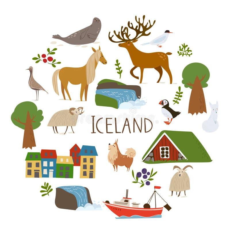 Vectorin da natureza de Islândia um círculo com símbolos das paisagens, dos animais e da arquitetura ilustração stock