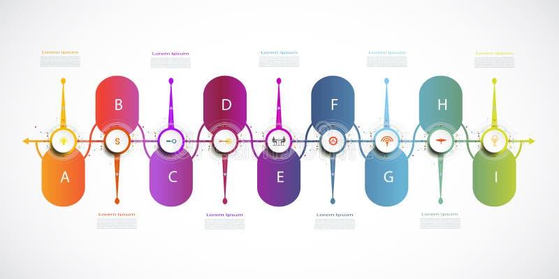 Vectorinfographic-chronologieontwerp met pictogrammen en 9 opties stock illustratie