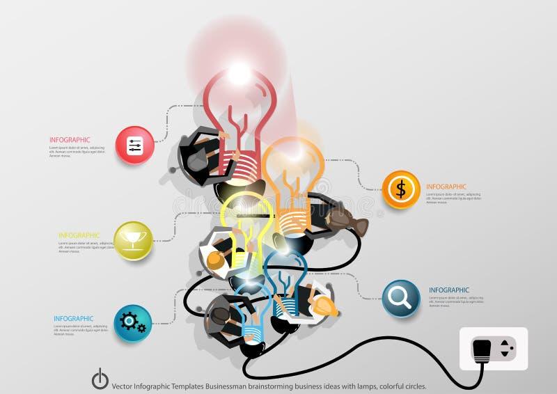 Vectorinfographic-de brainstormings van de Bedrijfs malplaatjeszakenman ideeën met een wereldkaart, Notitieboekjetaak, het levera royalty-vrije illustratie