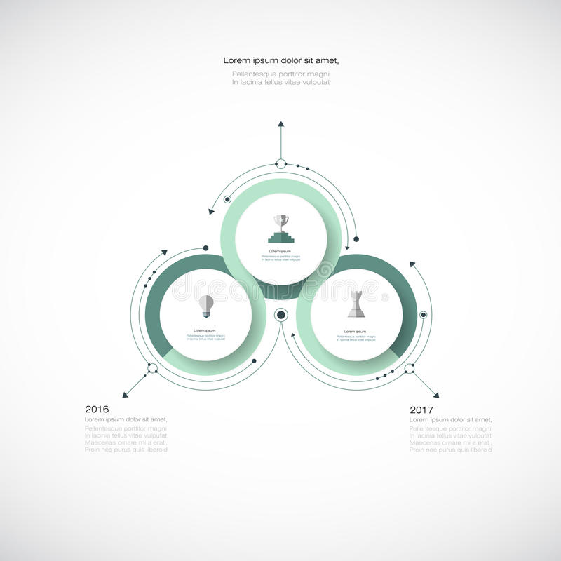 Vectorinfographics, 3D document malplaatje van het cyclusdiagram royalty-vrije illustratie