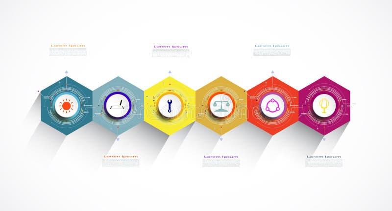 Vectorinfographics-etiketontwerp met hexagon optie 6 of stap royalty-vrije illustratie