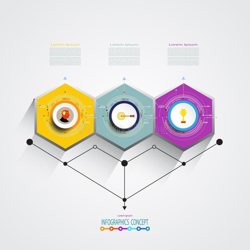 Vectorinfographics-etiketontwerp met hexagon optie 3 of stap stock illustratie