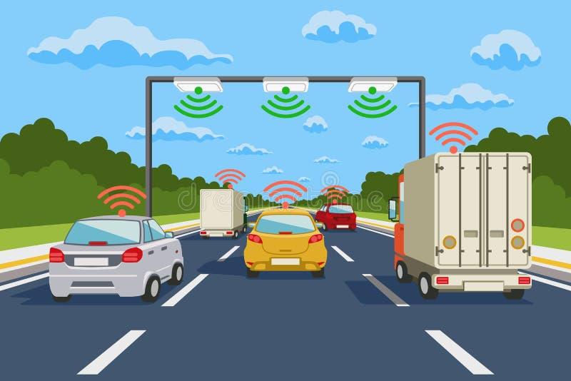 Vectorinfographics van het wegcommunicatiesysteem vector illustratie