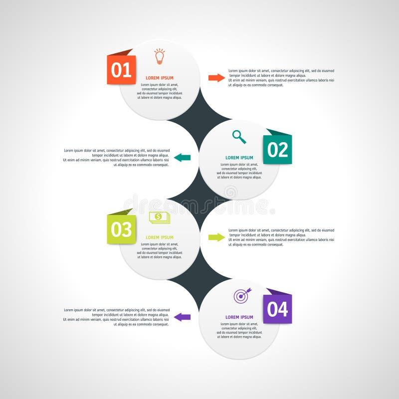 Vectorinfographicsmalplaatje met vier opties in materiële ontwerpstijl Het kan als grafiek worden gebruikt, genummerd banner vector illustratie