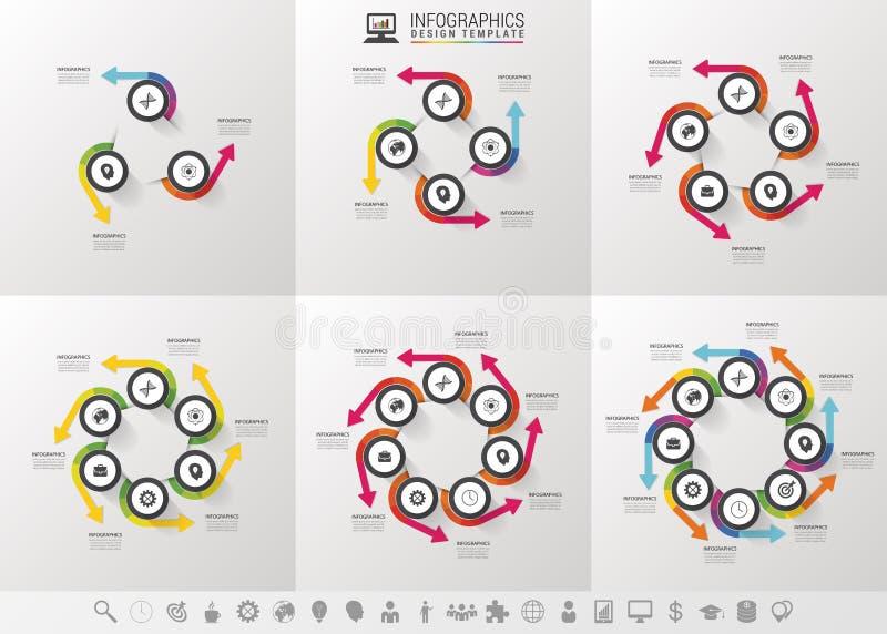 Vectorinfographicsreeks van cirkelpijlen Malplaatje voor cyclusdiagram, grafiek, presentatie en ronde grafiek royalty-vrije illustratie