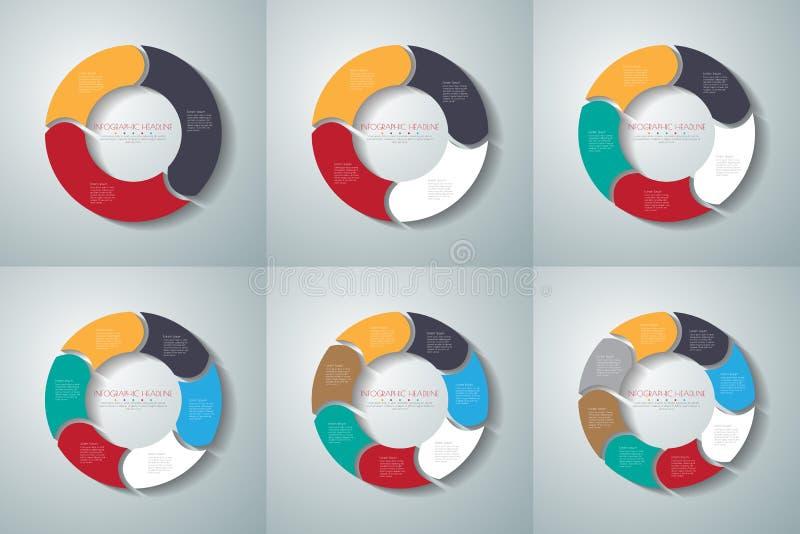 Vectorinfographicsreeks van cirkelpijlen Malplaatje voor diagram, gra royalty-vrije illustratie
