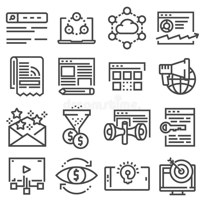 Vectorinternet-marketing pictogramreeks royalty-vrije illustratie