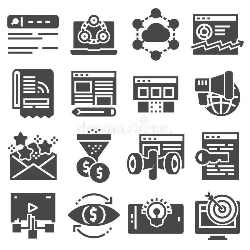 Vectorinternet-marketing pictogramreeks vector illustratie