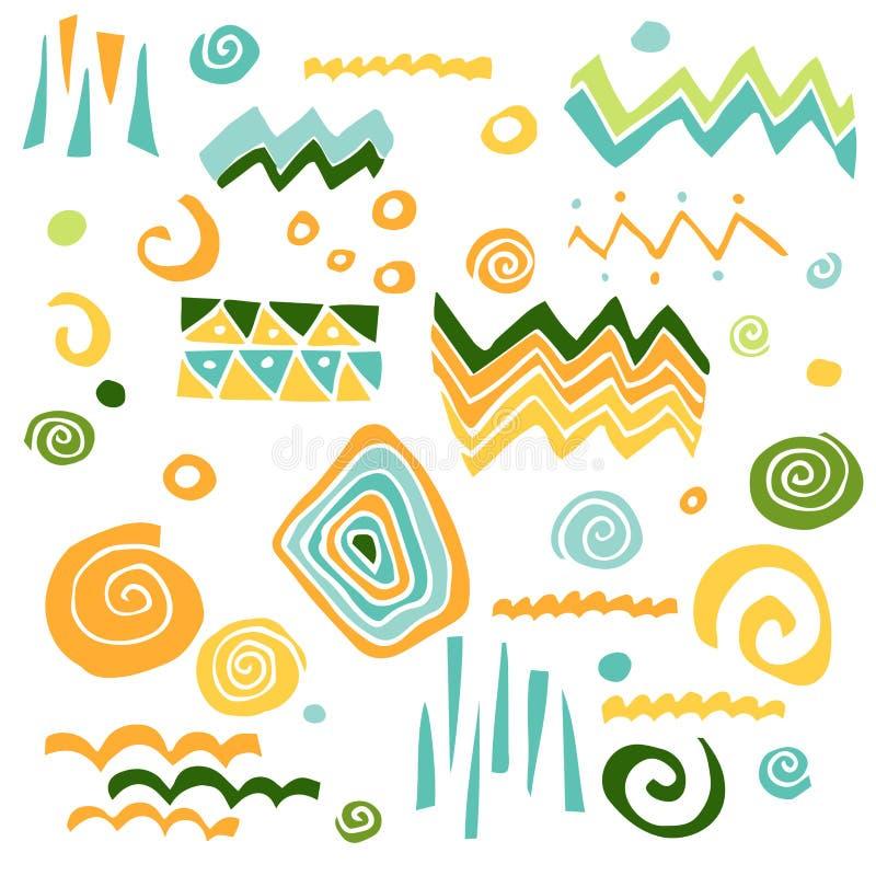 Vectorinzameling met grafische elementen: driehoek, zigzag, spiraal, punt, vlek, golf stock illustratie