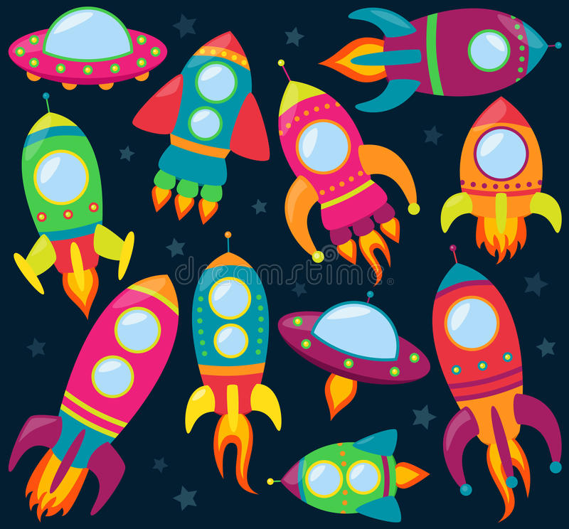 Vectorinzameling van Beeldverhaal Rocketships stock illustratie