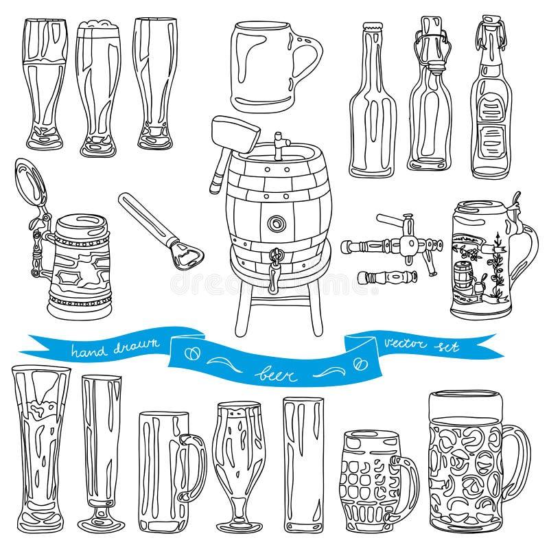 Vectorinzameling van bierglazen en flessen stock illustratie