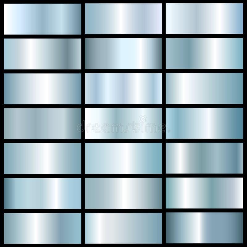 Vectorinzameling van blauwe zilveren metallgradiënten vector illustratie