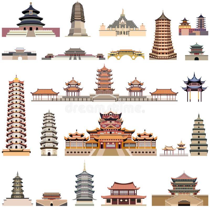 Vectorinzameling van Chinese pagoden en oude tempels en torens royalty-vrije illustratie
