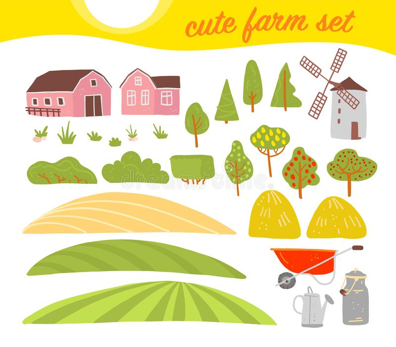 Vectorinzameling van comfortabele landbouwbedrijfelementen: huis, tuin, bomen, gebied, hooiberg, windmolen op witte achtergrond w stock illustratie