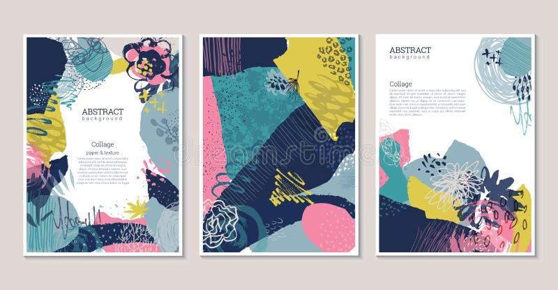 Vectorinzameling van in creatieve kaarten met gesneden document, bloemenelementen en verschillende texturen vector illustratie
