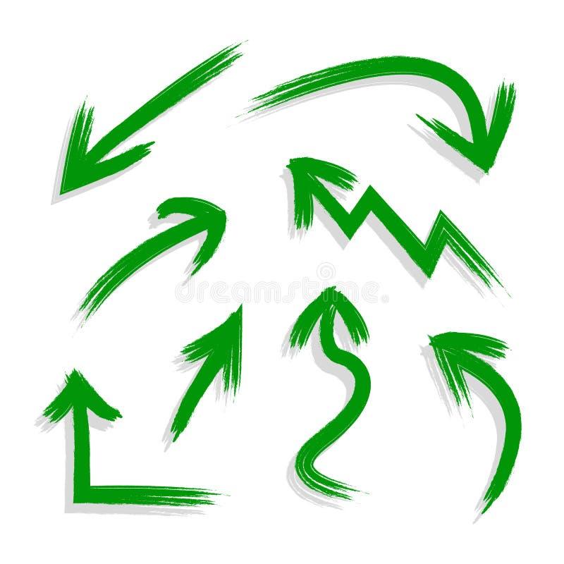 Vectorinzameling van de Hand Getrokken Groene Pijlen van Grunge met Schaduwen, Geïsoleerde Illustratie vector illustratie