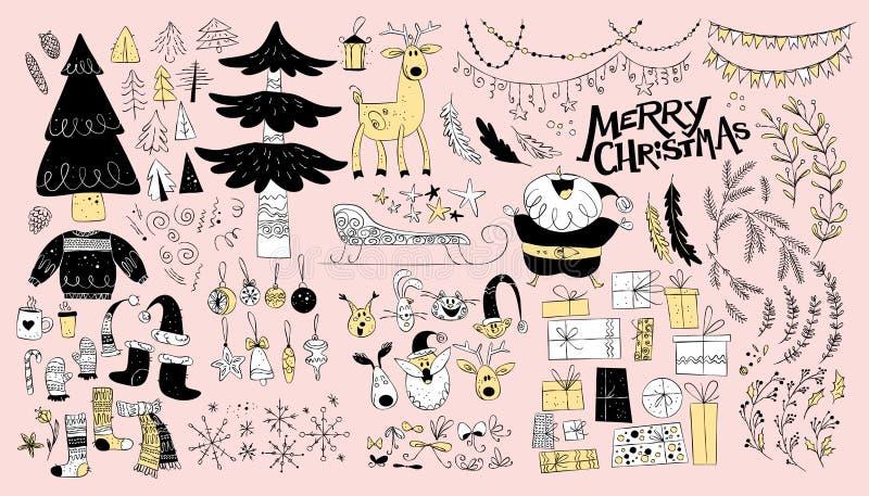 Vectorinzameling van de inheemse die elementen van het Kerstmisontwerp op lichte achtergrond worden geïsoleerd royalty-vrije illustratie
