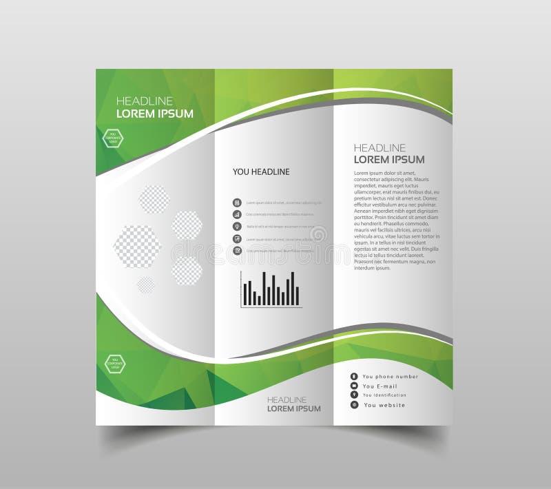 Vectorinzameling van de ontwerpsjablonen van de trifoldbrochure met moderne veelhoekige achtergrond op wit royalty-vrije illustratie