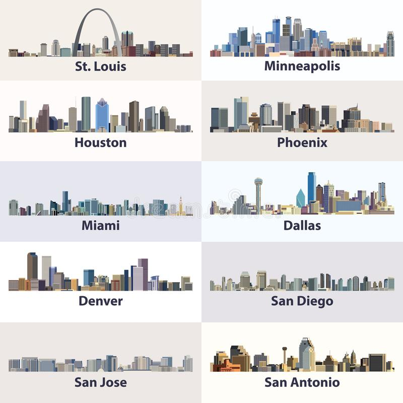 Vectorinzameling van de stadshorizonnen van Verenigde Staten vector illustratie