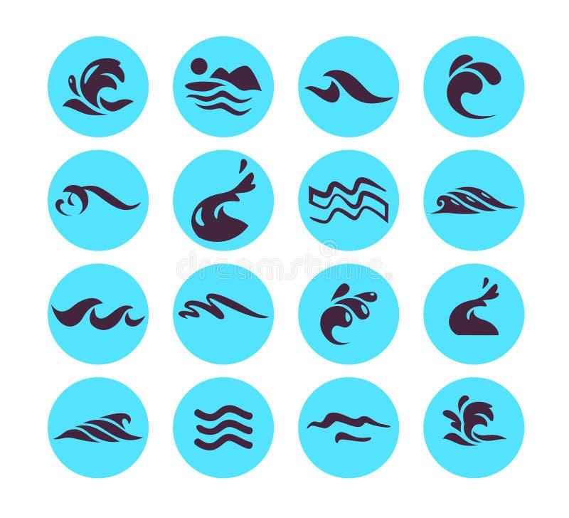 Vectorinzameling van de vlakke die pictogrammen van de watergolf op witte achtergrond wordt geïsoleerd stock illustratie