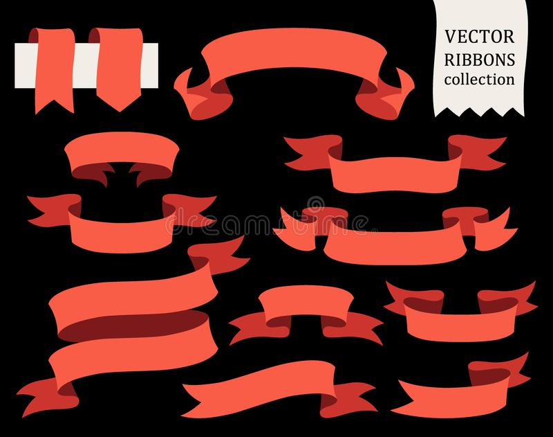Vectorinzameling van decoratieve ontwerpelementen - de linten, kaders, stickers, etiketteert vector illustratie