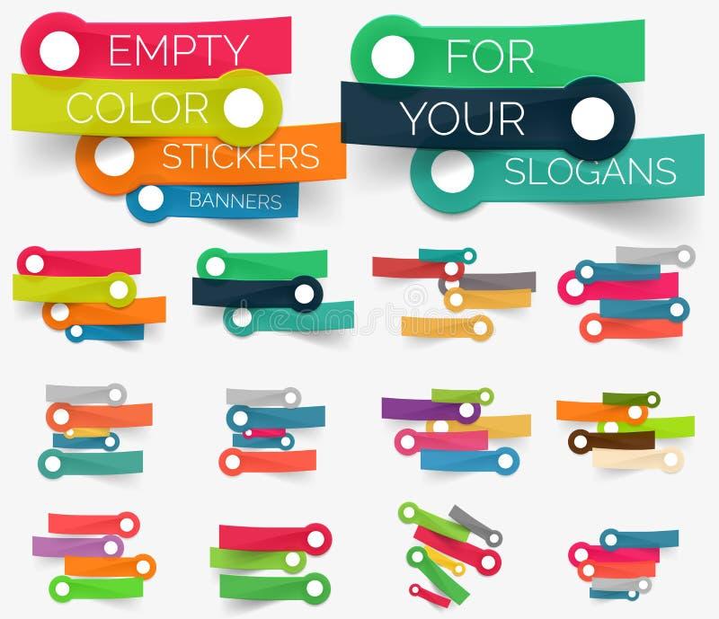 Vectorinzameling van document stickerbanners stock illustratie
