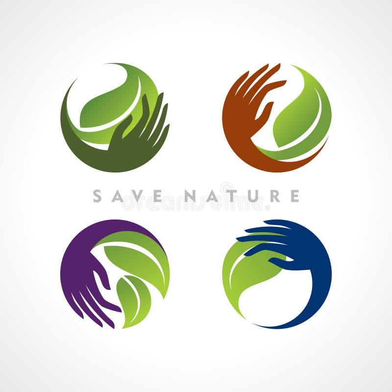 Vectorinzameling van ecologische symbolen royalty-vrije illustratie