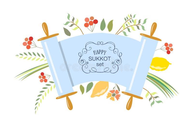 Vectorinzameling van etiketten en elementen voor Sukkot vector illustratie