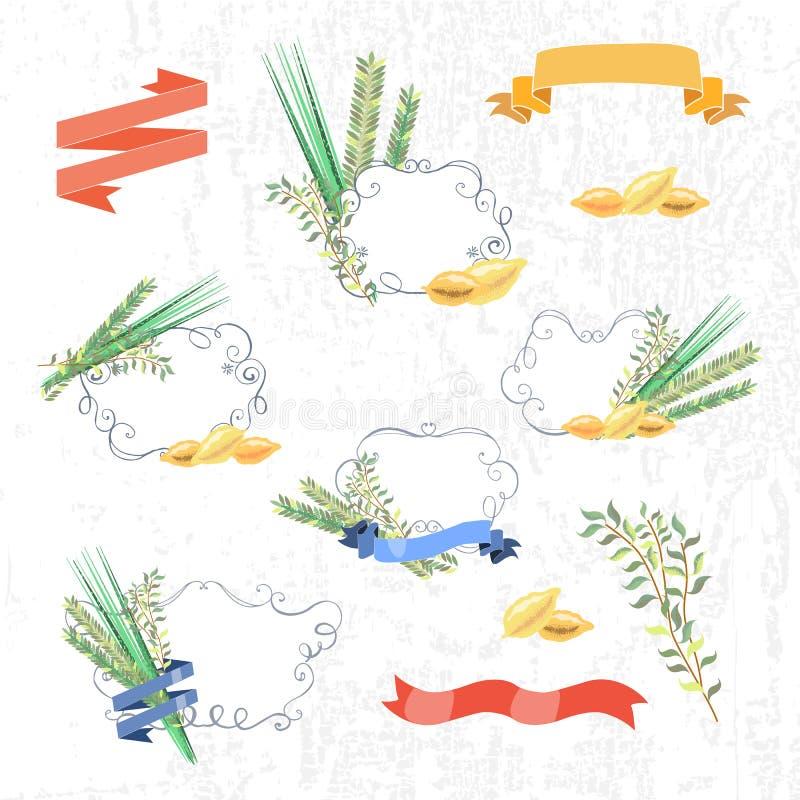 Vectorinzameling van etiketten en elementen voor Sukkot (Joodse Trad vector illustratie