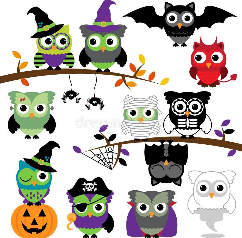 Vectorinzameling van Griezelige Halloween-Uilen royalty-vrije illustratie