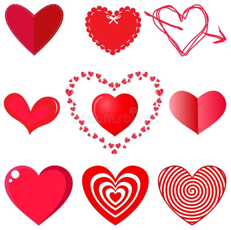 Vectorinzameling van harten op witte achtergrond royalty-vrije illustratie
