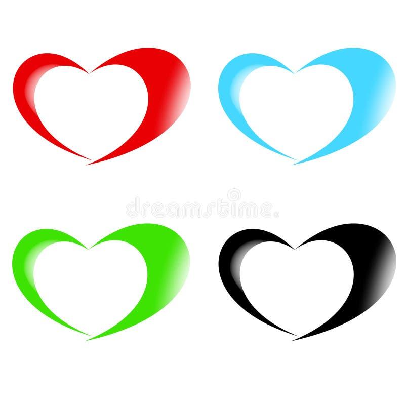 Vectorinzameling van hartvormen royalty-vrije illustratie