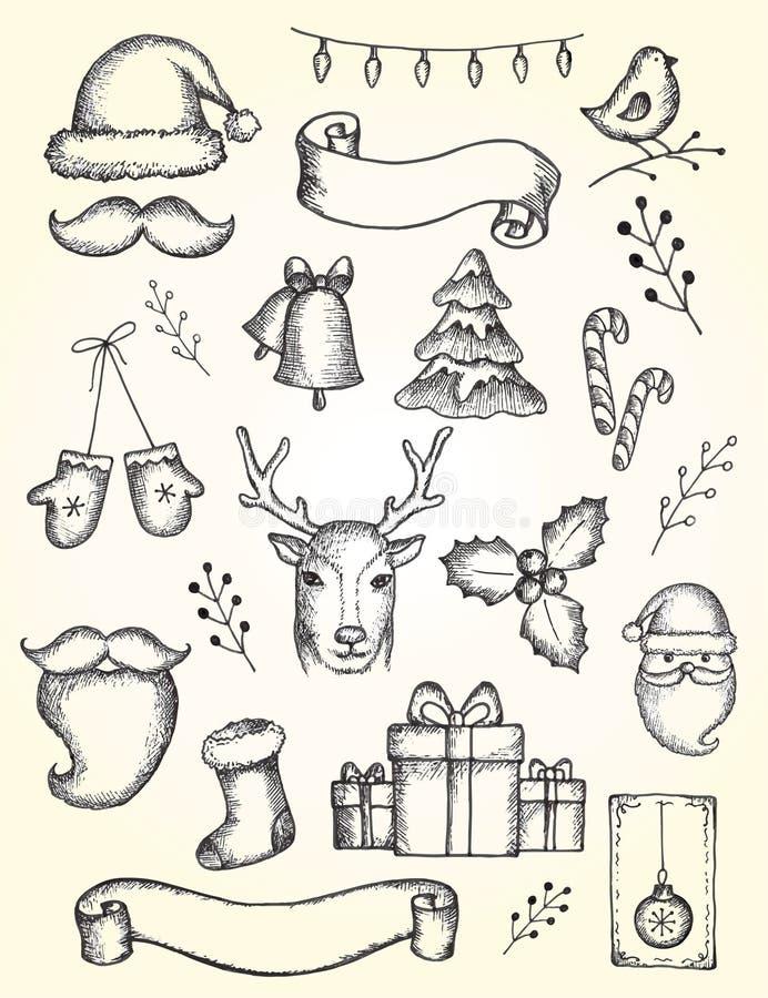 Vectorinzameling van Kerstmis en van het Nieuwe jaar elementen stock illustratie