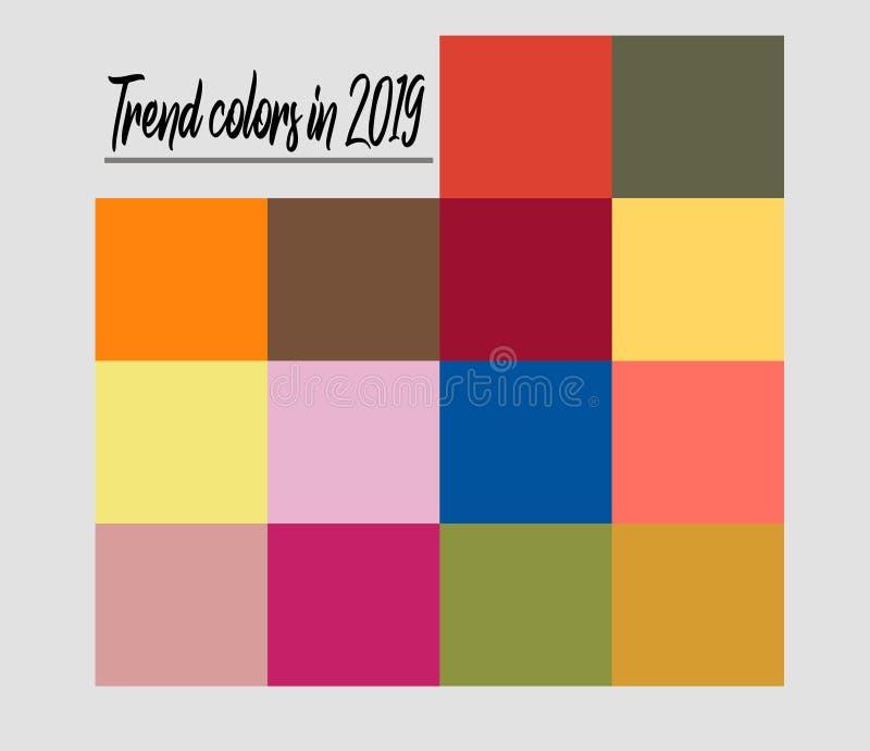 Vectorinzameling van in kleuren van 2019 vector illustratie