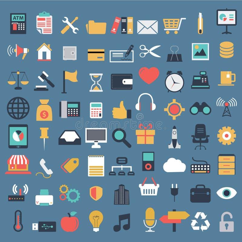 Vectorinzameling van kleurrijke vlakke bedrijfs en financiënpictogrammen