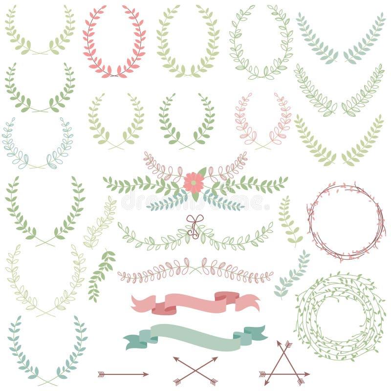 Vectorinzameling van Laurels, Bloemenelementen royalty-vrije illustratie