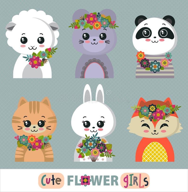 Vectorinzameling van leuke dieren met bloemen, kroon, boeketten stock illustratie