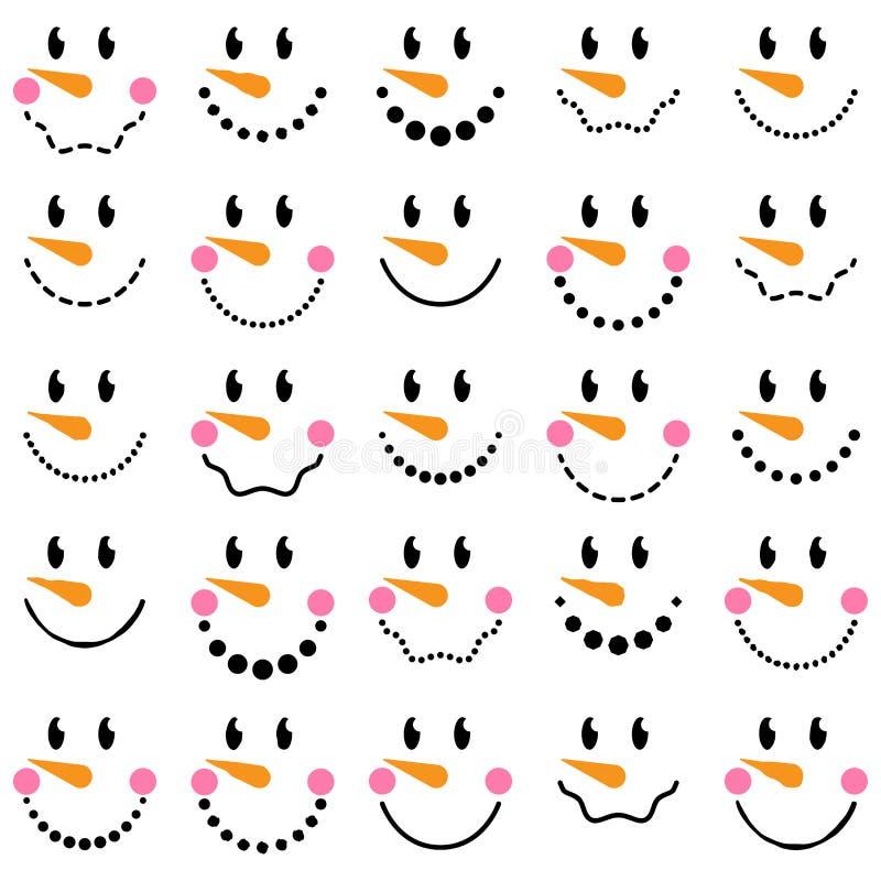 Vectorinzameling van Leuke Sneeuwmangezichten stock illustratie